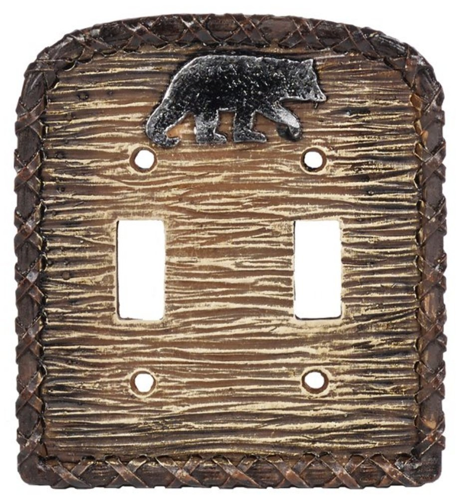 Rustic Black Bear Resin Double Switch Cover Plate
