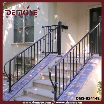 Simple Outdoor Wrought Iron Stair Steps Railing|railing For Door Steps