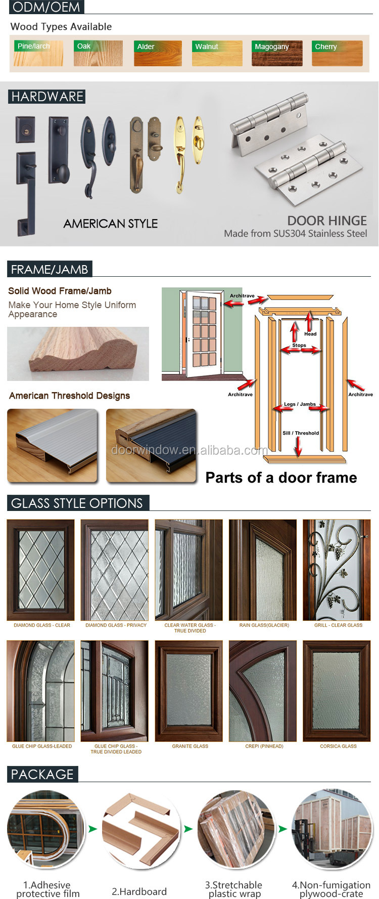 North America popular front french doors round top design with decorative wrought iron clavos