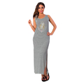 autumn women sleeveless cotton loose straight natural waist contract color striped dress long ankle length women