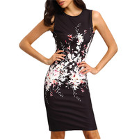 2016 New Summer Style Bodycon Dresses Vintage Ladies Fitness Floral Print Sleeveless Crew Neck Dress