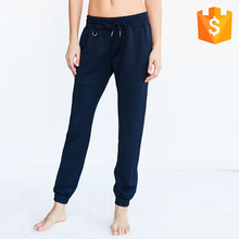 Purplish Blue Sporty Relaxed Fit Track Suit Jogger Pants Drawstring Cinched Waist