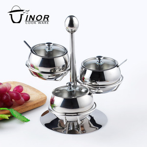 hot selling mirror finish stainless steel rotate tomato shape salt cellar for sale
