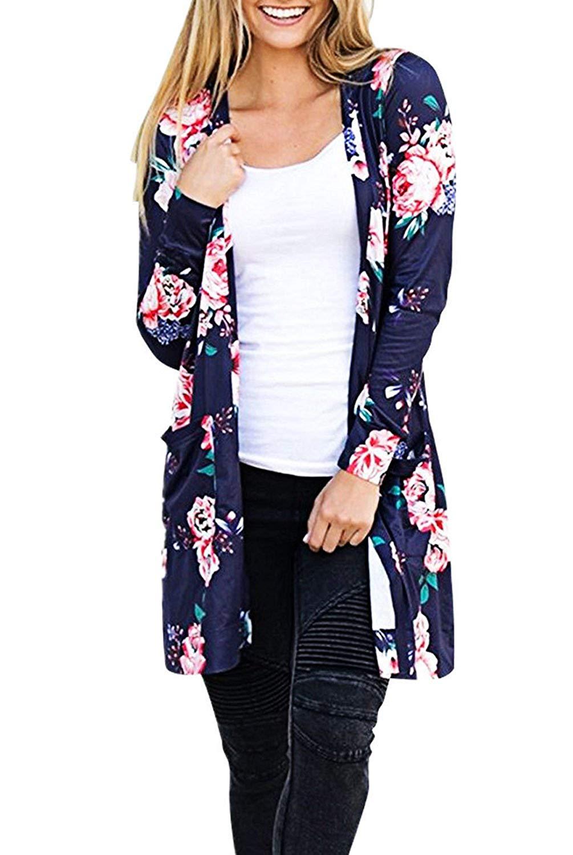 VOGRYE Womens Kimono Cardigans Floral Chiffon Blouse Boho Irregular Wrap Kimono Cardigans Casual Coverup Tops