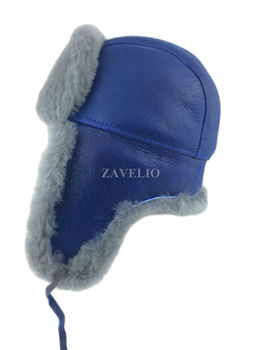 9fd88e3128496 Genuine Shearling Sheepskin Russian Ushanka Aviator Trapper Fur Hat - Blue