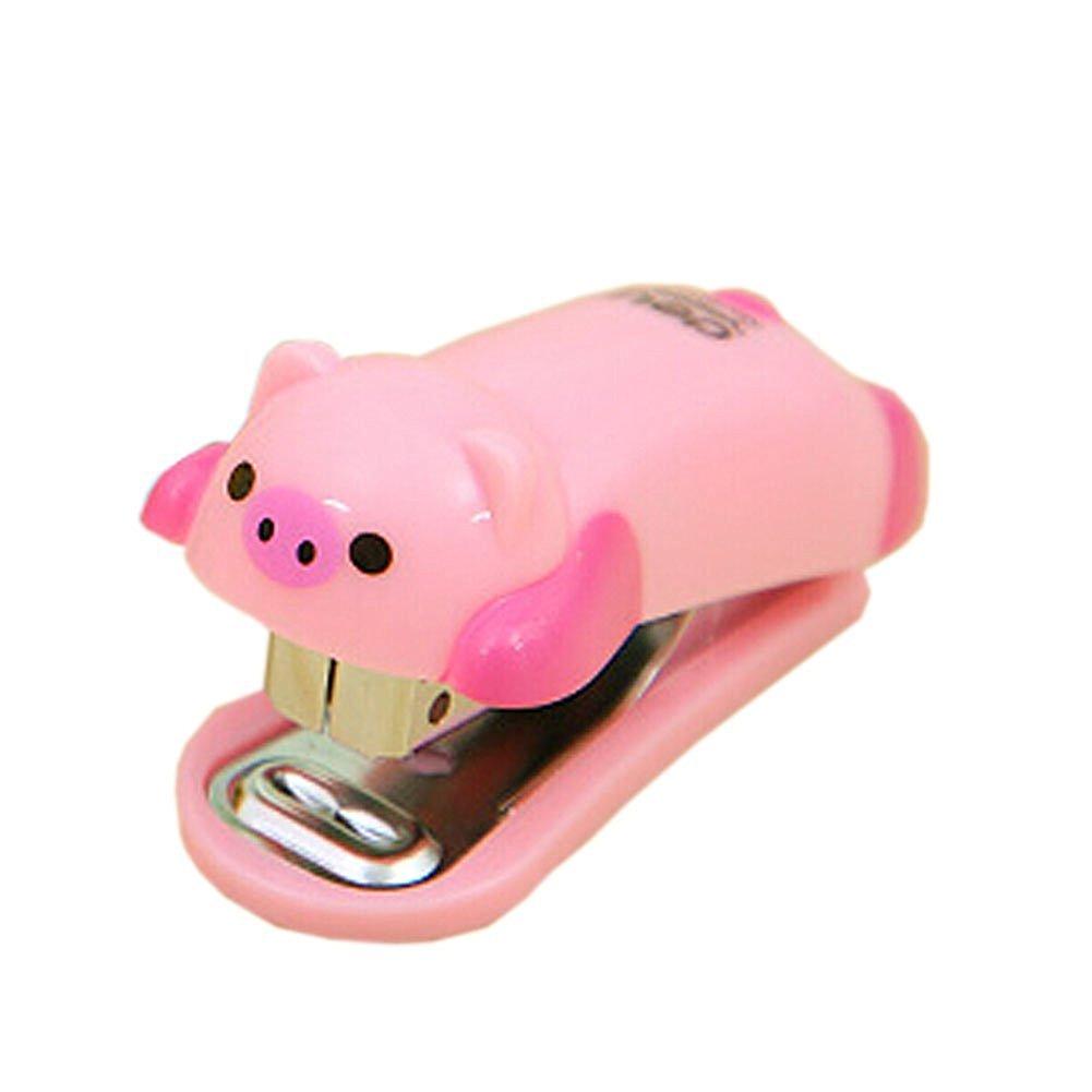 Y&Y Star Cute Mini Pink Piggy Desktop Stapler&staple Hand Stapler and 10 # Cartoon Cute Little Student Staplerfor Office Home Travel(6*2.5cm) (Pink Piggy)