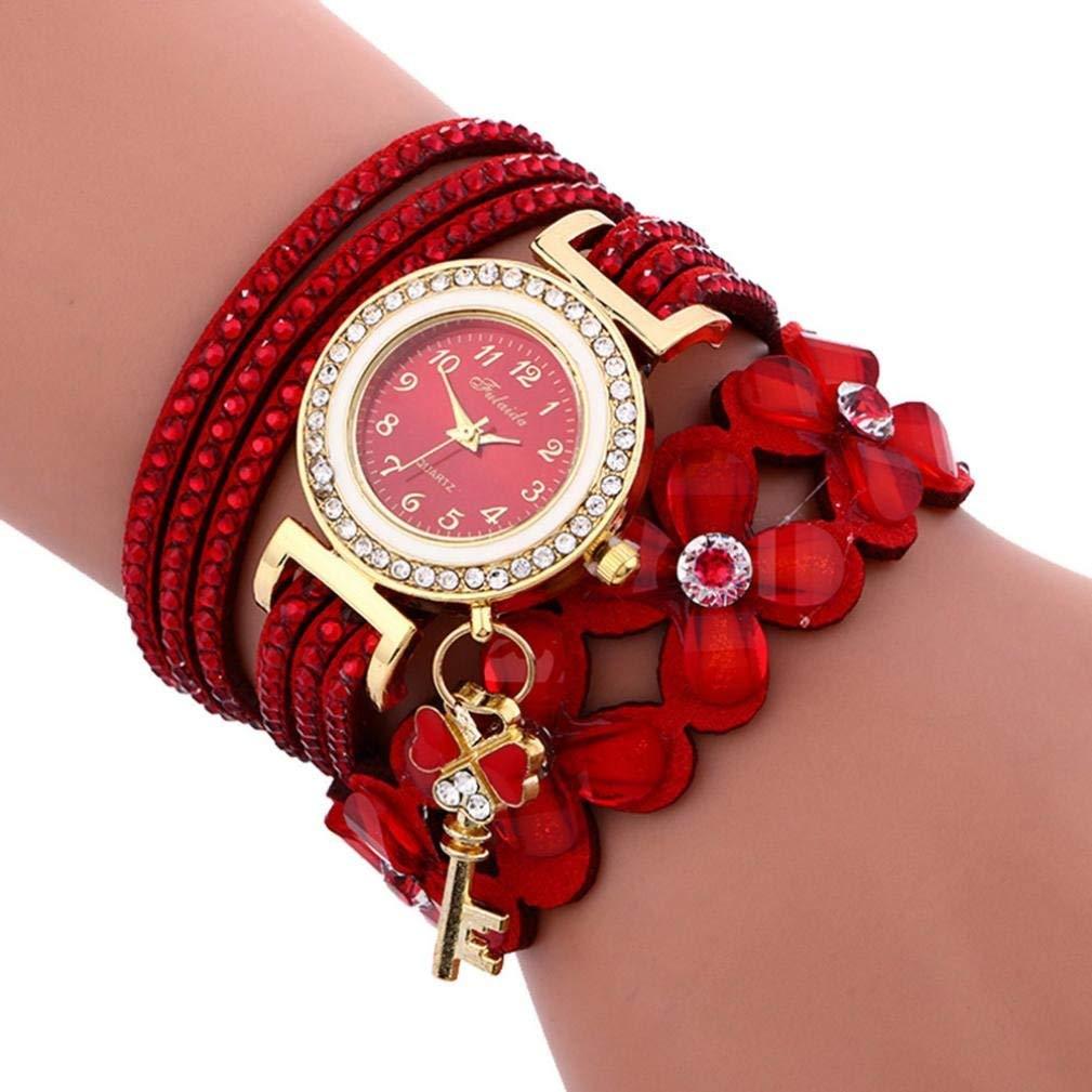 Baigoods Fashion Chimes Diamond Leather Bracelet Key Crystal Lady Womans Wrist Watch
