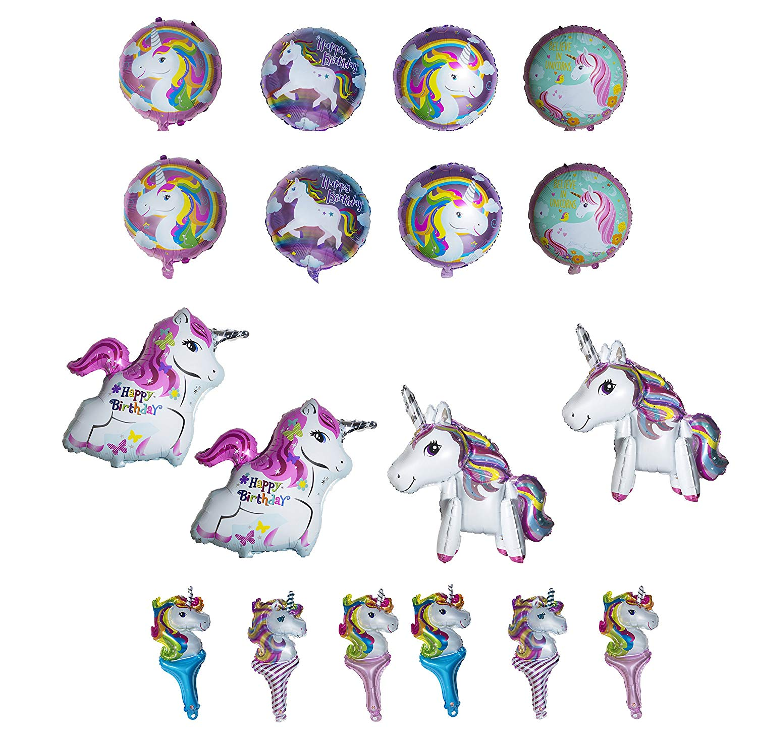Magical Unicorn Party Supplies Bundle Pack for 16 With Large 18 Inch