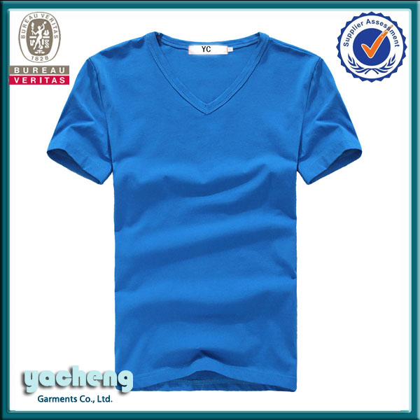 Plain organic cotton t-shirt with V-neck plain and blank t-shirt made in Nanchang