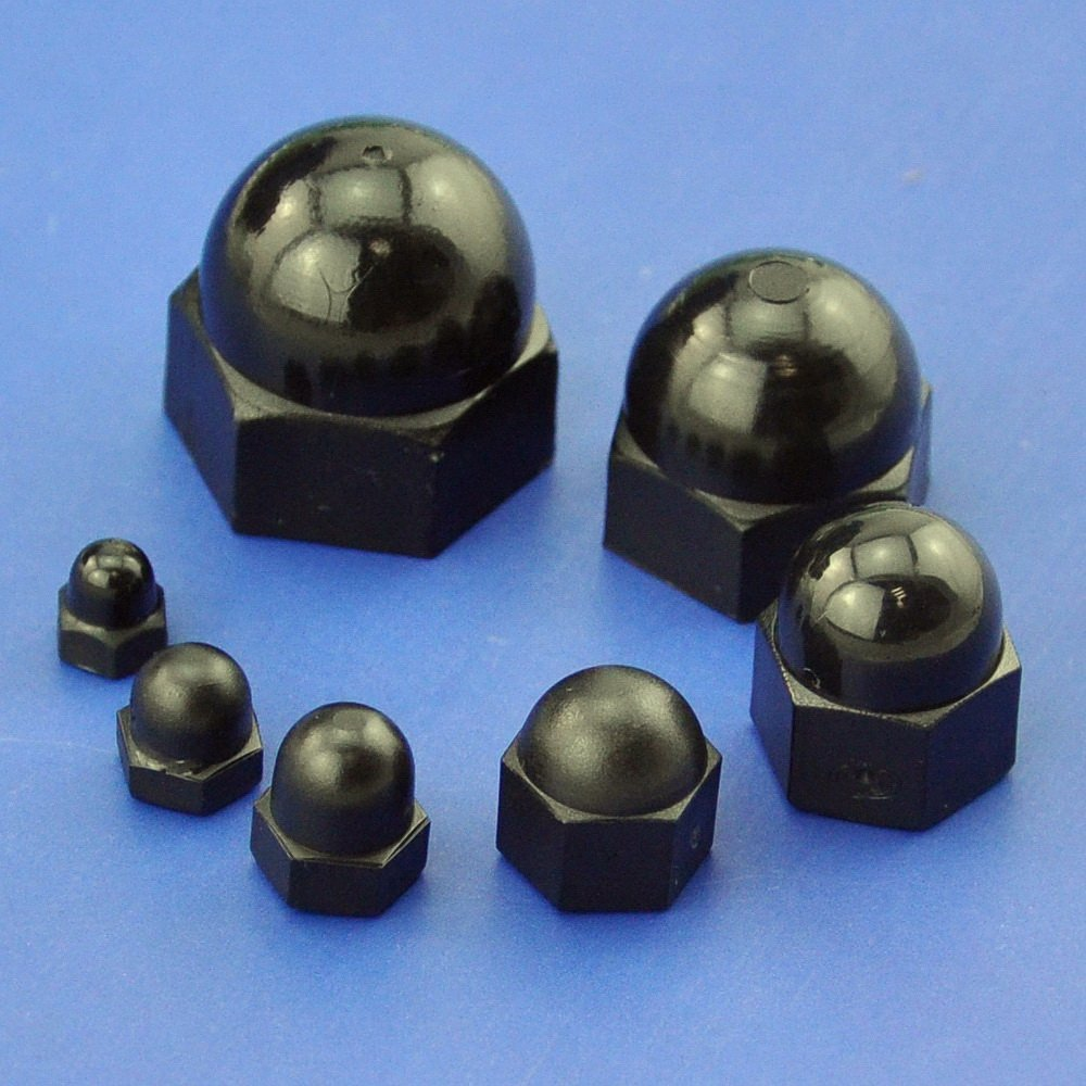 Fasteners Hex Acorn Dome Head Nuts for Screws Bolts Nylon Black 10 Pcs uxcell® M6 Cap Nut