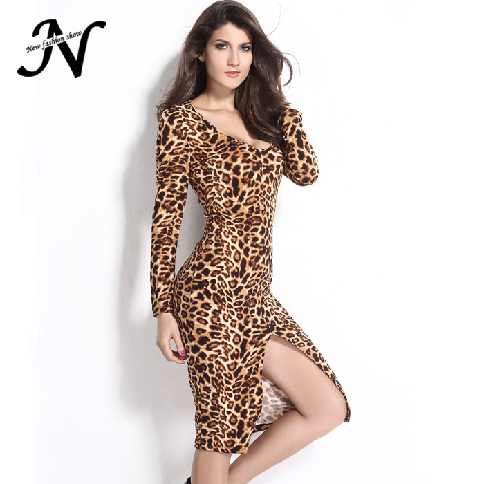 fe674e165f62 2015 Slit Tight Clothing New Club Sexy Party Women Long Sleeve Animal Print  Dresses Fashion Ladies
