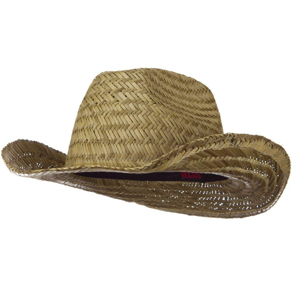 35bce0713a8 Get Quotations · Dented Straw Cowboy Hat - Natural W37S15B