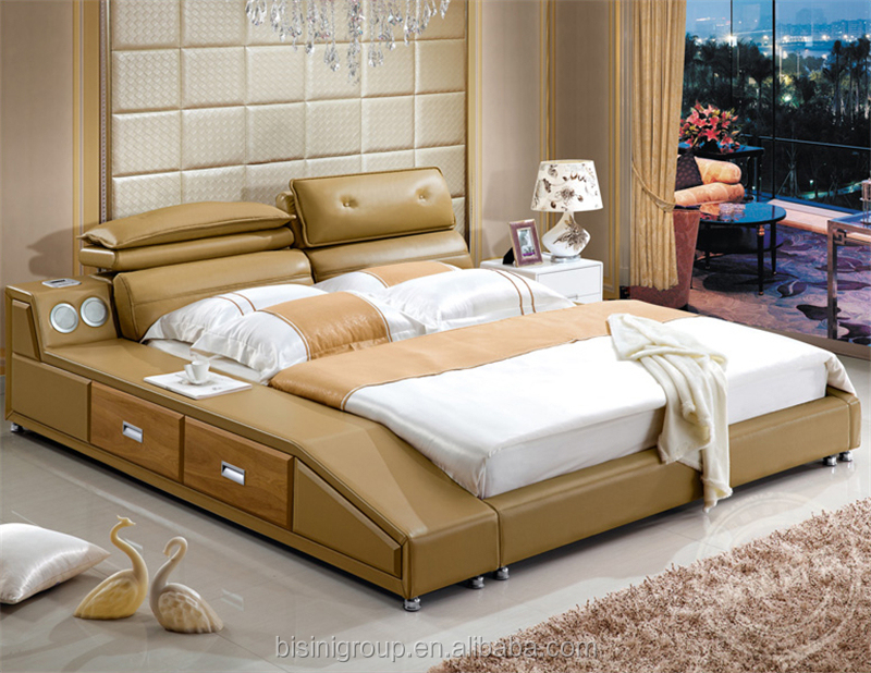 Bisini Modern Bedroom Furniture Soft Leather Bed King Size Music Bed With  Built-in Speaker - Buy Leather Bed,King Size Soft Beds,King Size Music Beds  ...