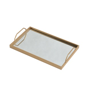 Mayco Wholesale Vanity Gold Metal Glass Mirror Serving Tray