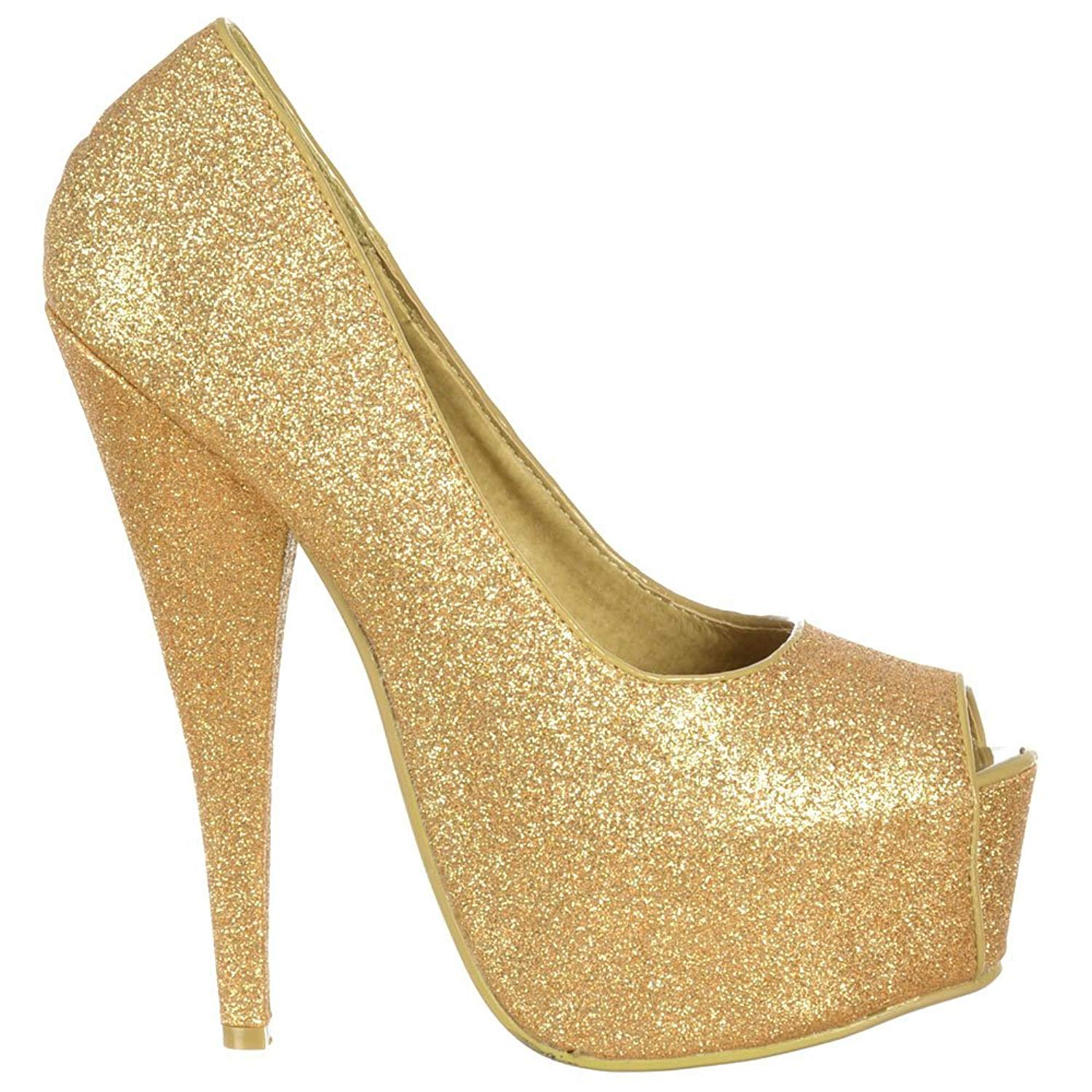 Onlineshoe Women's Sparkly Peep Toe Stiletto Concealed Platform High Heel Pump
