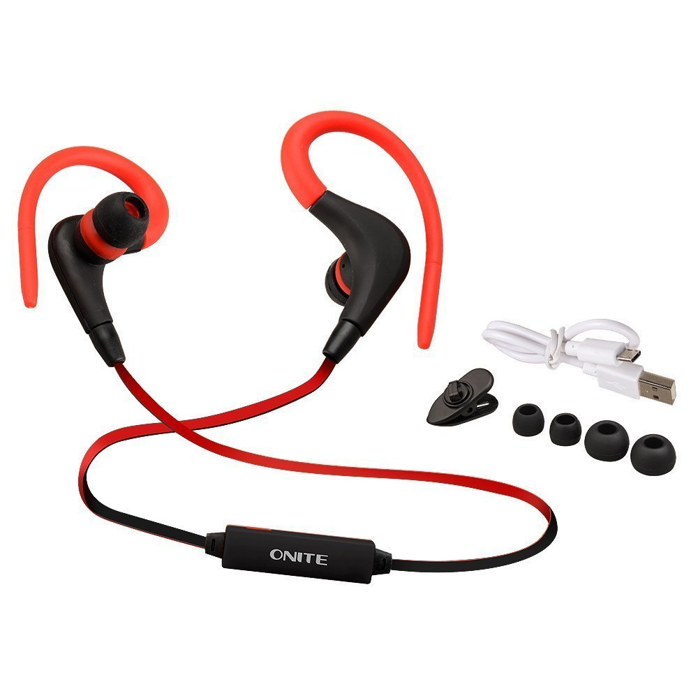 Onite Wireless Headset Bluetooth 4.1 Sports Headphone Wireless for Apple Iphone 6/5s/5c/5, Iphone 4s/4, Samsung Galaxy S5/s4/s3, Lg, Pc Laptop, and Other Bluetooth Device (Black-Red)