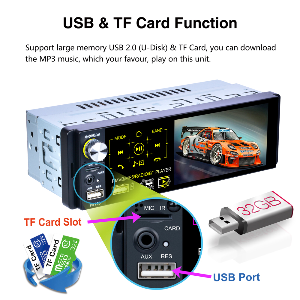 Universal Auto Multimedia 1Din Bluetooth/MP5/AM/FM/RDS Radio Audio Stereo DVD Player, Car 1 Din Touch Screen Rear View Autoradio