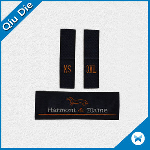 China woven fabric label factory OEM cheap black plain clothing labels