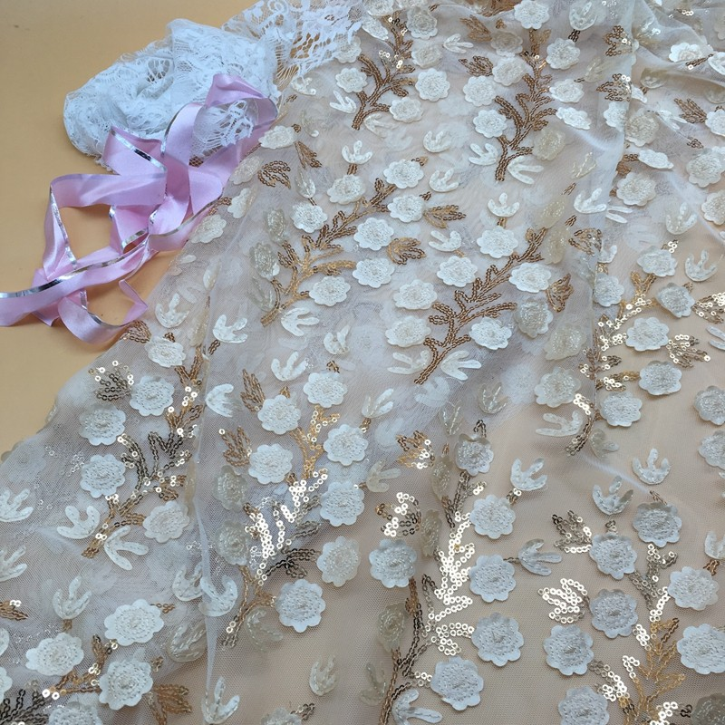 china supplier 3d guipure flower tulle embroidery fabrics beads sequin brocade lace fabric wedding