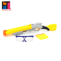 safety blaster game plastic yellow soft bullet gun toy with six foam darts