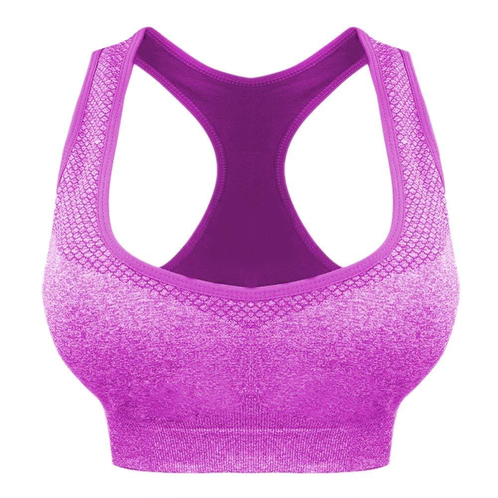 ac1d75c35d Get Quotations · Senchanting Women s Comfy Seamless Wirefree Racerback Yoga Sports  Bra Plus Size