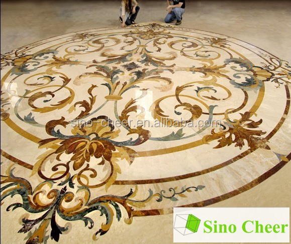 Jet d'eau incrustations sol en marbre médaillon pour hôtel-Marbre ...