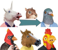 Halloween Head Mask Animal Head Adult Maks Made of Latex Party Mask