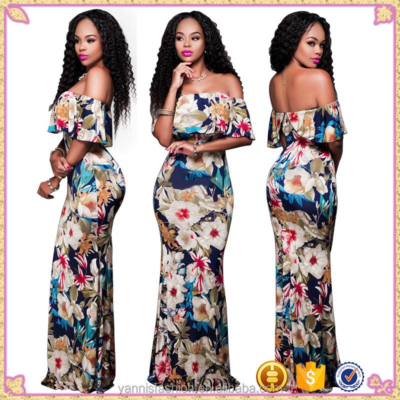 Mujeres tropical imprimir flores fuera del hombro vestido de fiesta ...