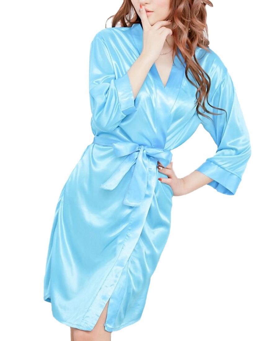 Cromoncent Mens Long-Sleeve Fit Lounge Autumn Bath-Robe Print Silk Robes