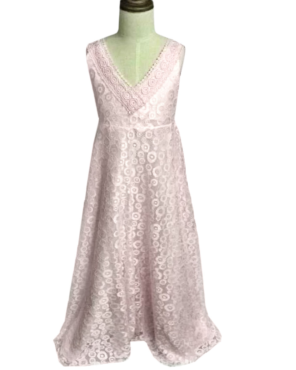 Cheap pink flower lace dress find pink flower lace dress deals on get quotations lovely pink flower girl dress flower girl lace v neck open back dress a line izmirmasajfo