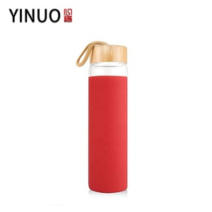 32 oz wholesale luxury Manufacturing Shaker Borosilicate Glass Water Bottle With Wood Lid