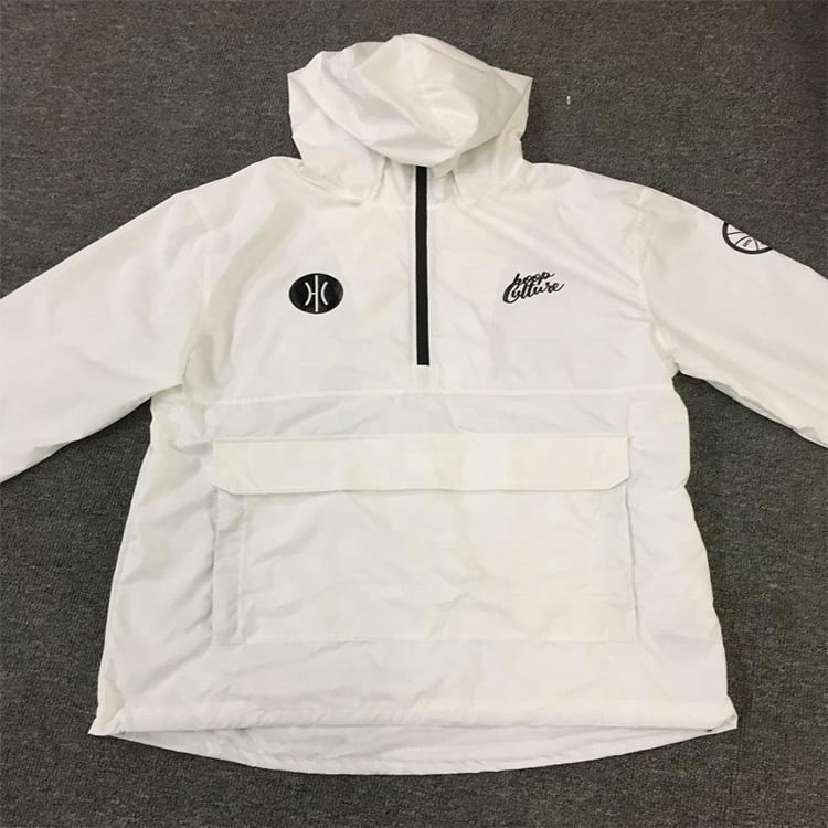 カスタム新到着ファッション秋防水ウインドブレーカージャケット印刷でデザイン白
