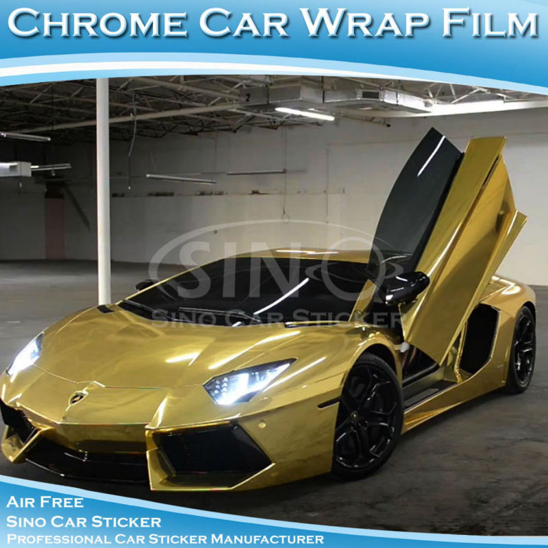5x98FT Air Bubble Free Gold Chrome Vinyl Mirror Car Body Wrap