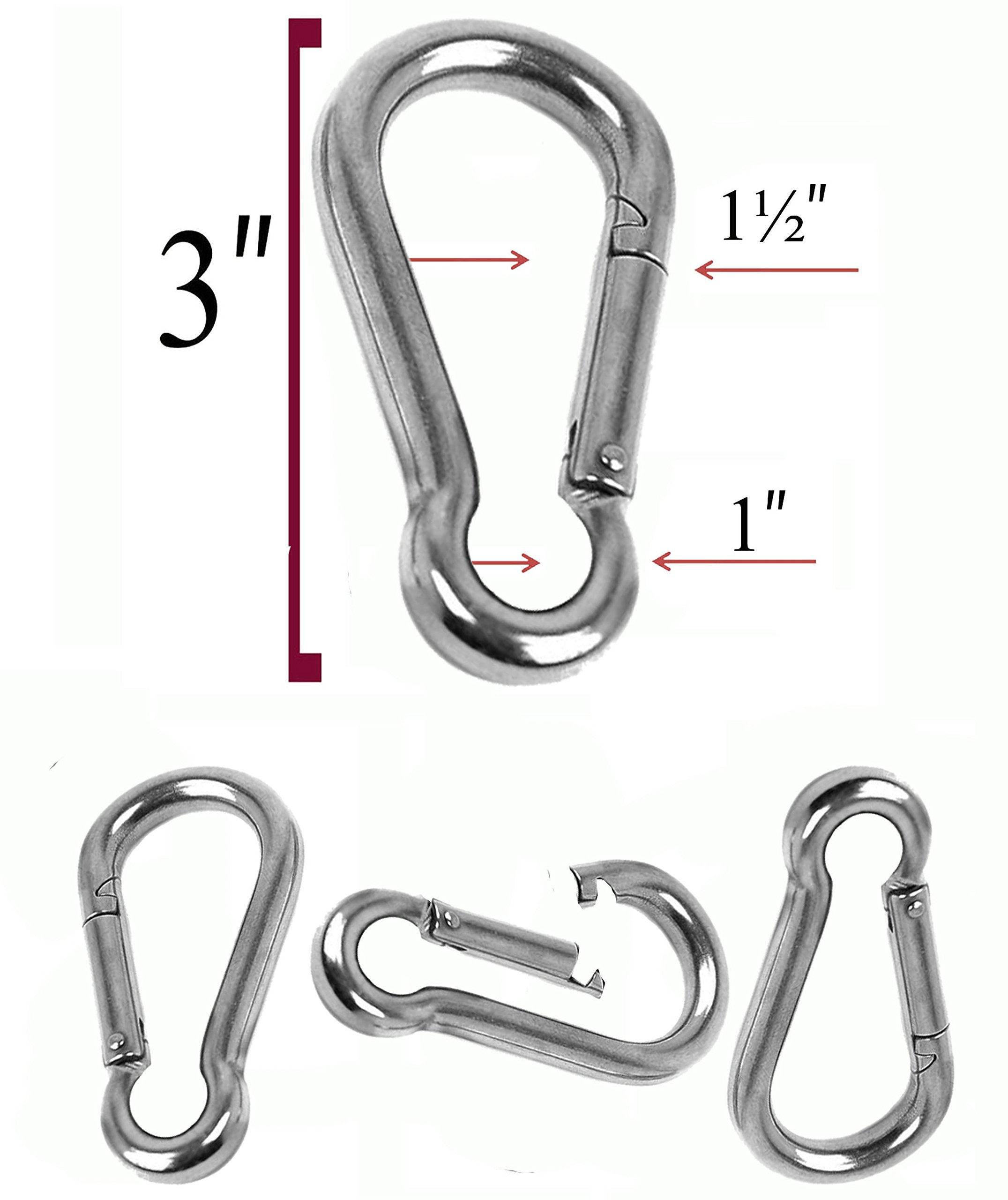 Set of 4 - 3 Inch Stainless Steel 304 Spring, Snap, Link, Hook, Clip Carabiner-Keychain, Keyring/Camping/Fishing/Traveling/Hiking/dog leash...etc.. Set of 4 (Not used for climbing)
