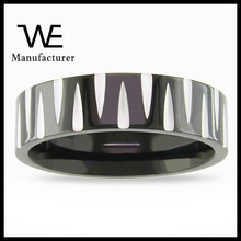 Stainless Steel Men's Black and White Ring