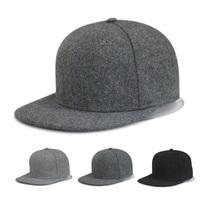 Custom logo women men hip hop caps Flat brim warm 100 wool winter snapback hat