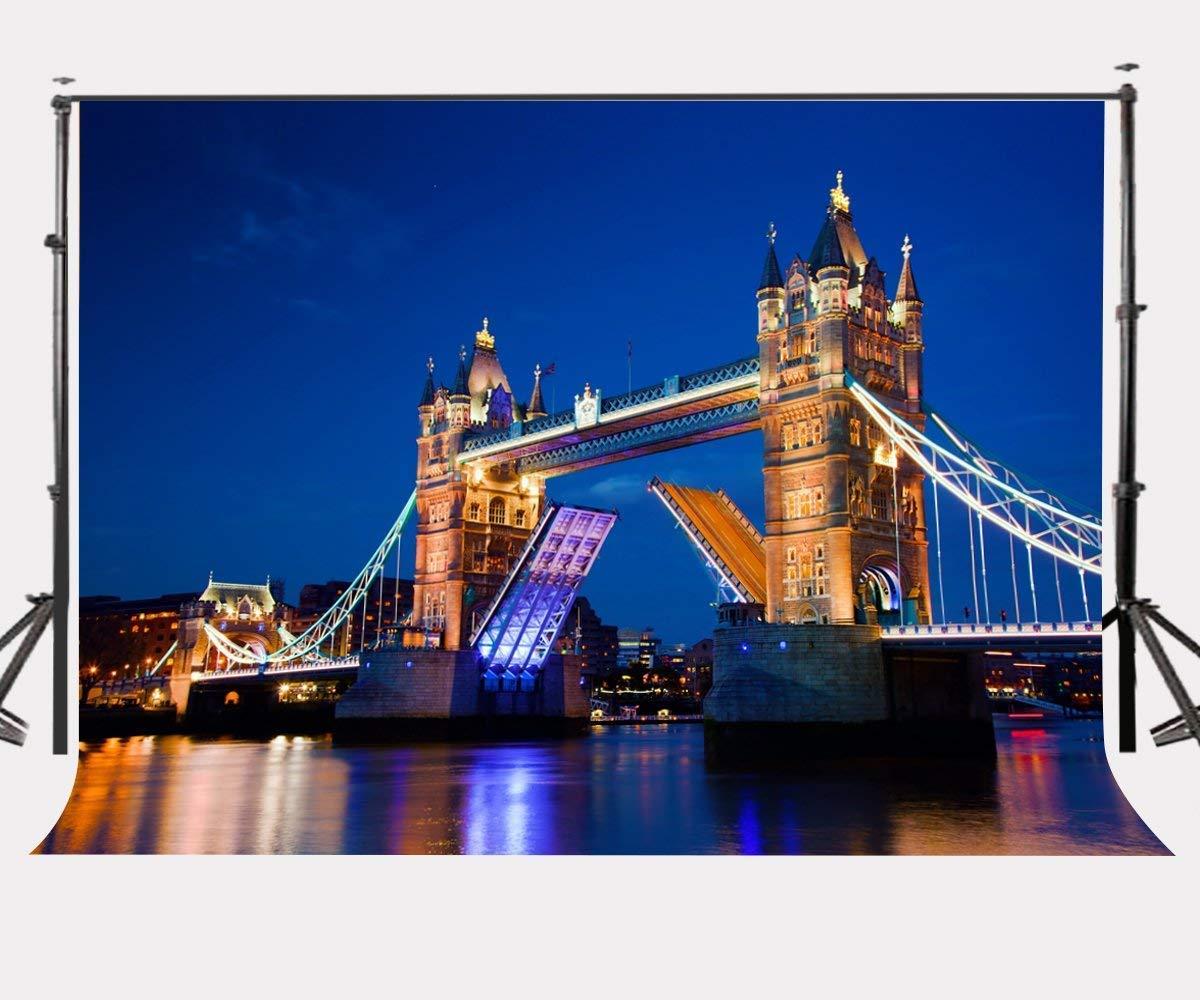 ERTIANANG 150x220cm London City Night View Backdrop London Bridge Photography Background Outdoor Shooting Props