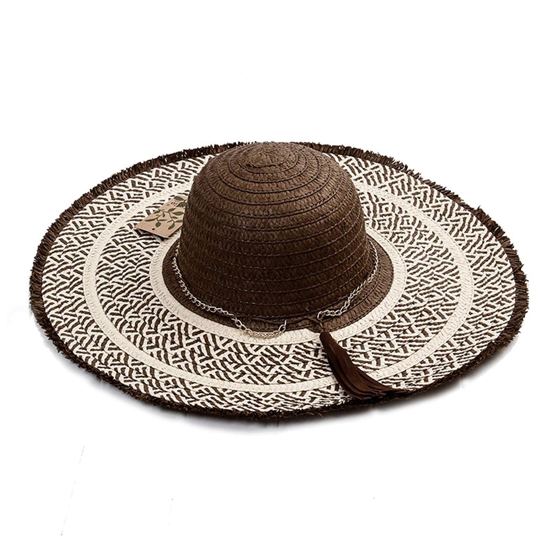 27c811be07538 Get Quotations · SUPERCB Women s Wide Brim Sun Hat Straw Beach Floppy Fedora  Chain Tassel Coffee