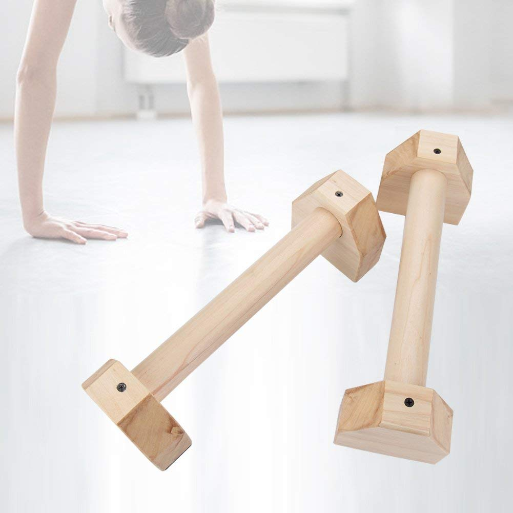 Wooden Push Up Stand(set of 2), Solid Exercise Wooden Push Up Bar, Protable Fitness Equipment Workout Wood Push Up Handles, Wood Mini Parallettes Set Non-Slip for L-Sits, Handstand Pushups More