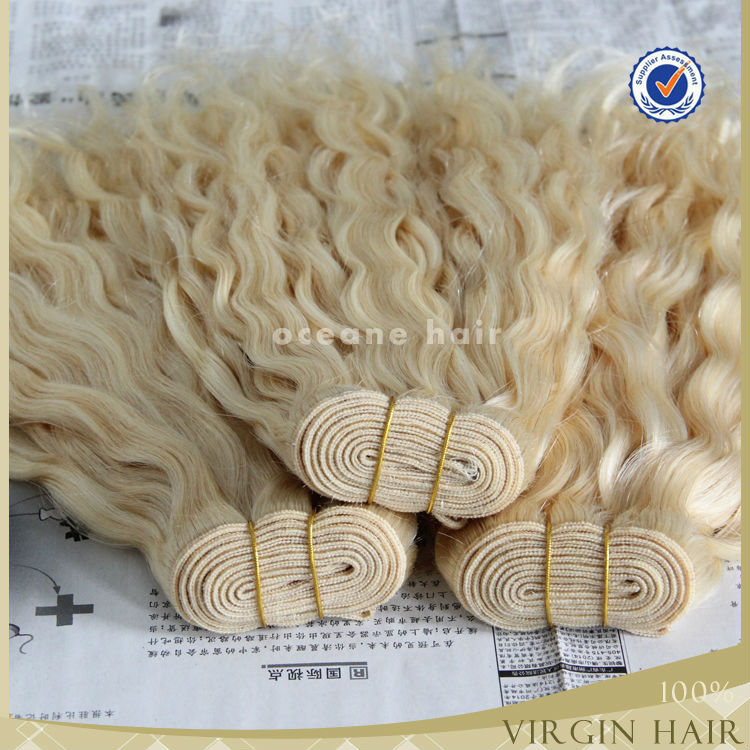 Tangle and shedding free large quantity in stock 100 european 24inch virgin remy blonde brazilian hair weft