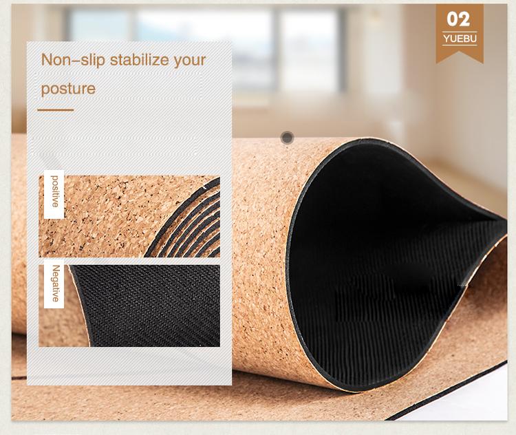Print premium gym rubber custom print designed organic eco friendly cork yoga mat