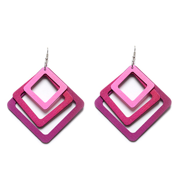 cheap raw material laser out square wood earrings wholesale