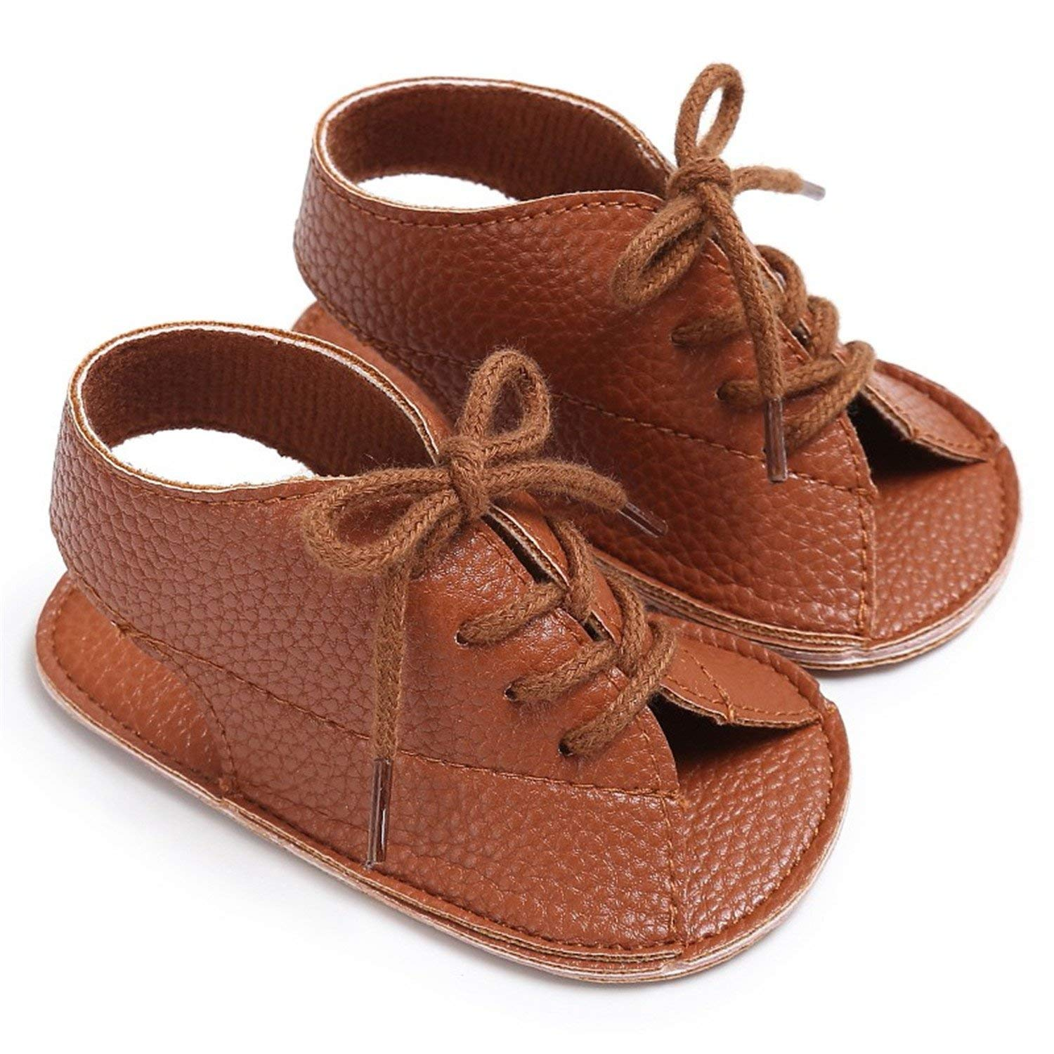 8bd092aa4 Get Quotations · Welcometoo Baby Boys Summer Handsome Lace-up PU Leather  Soft Soled Anti-Slip Newborn
