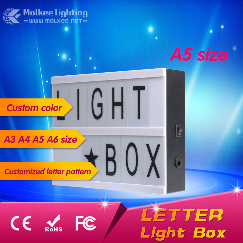 Cinematic light box led with replaceable letters <strong>signs</strong> and emojis