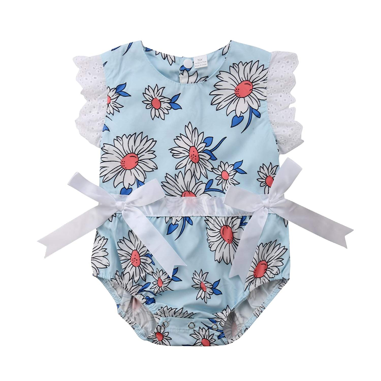 1b2d2eaa0 Get Quotations · Newborn Baby Girl Ruffle Sleeveless Lace Bowknot Daisy  Flower Romper Bodysuit Jumpsuit