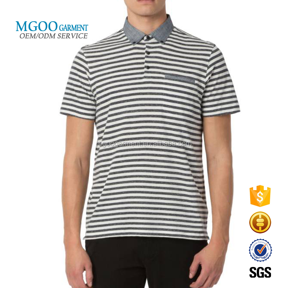 Mgoo Garment Classic Stripe Linen Polo With Front Pocket Polo Shirts