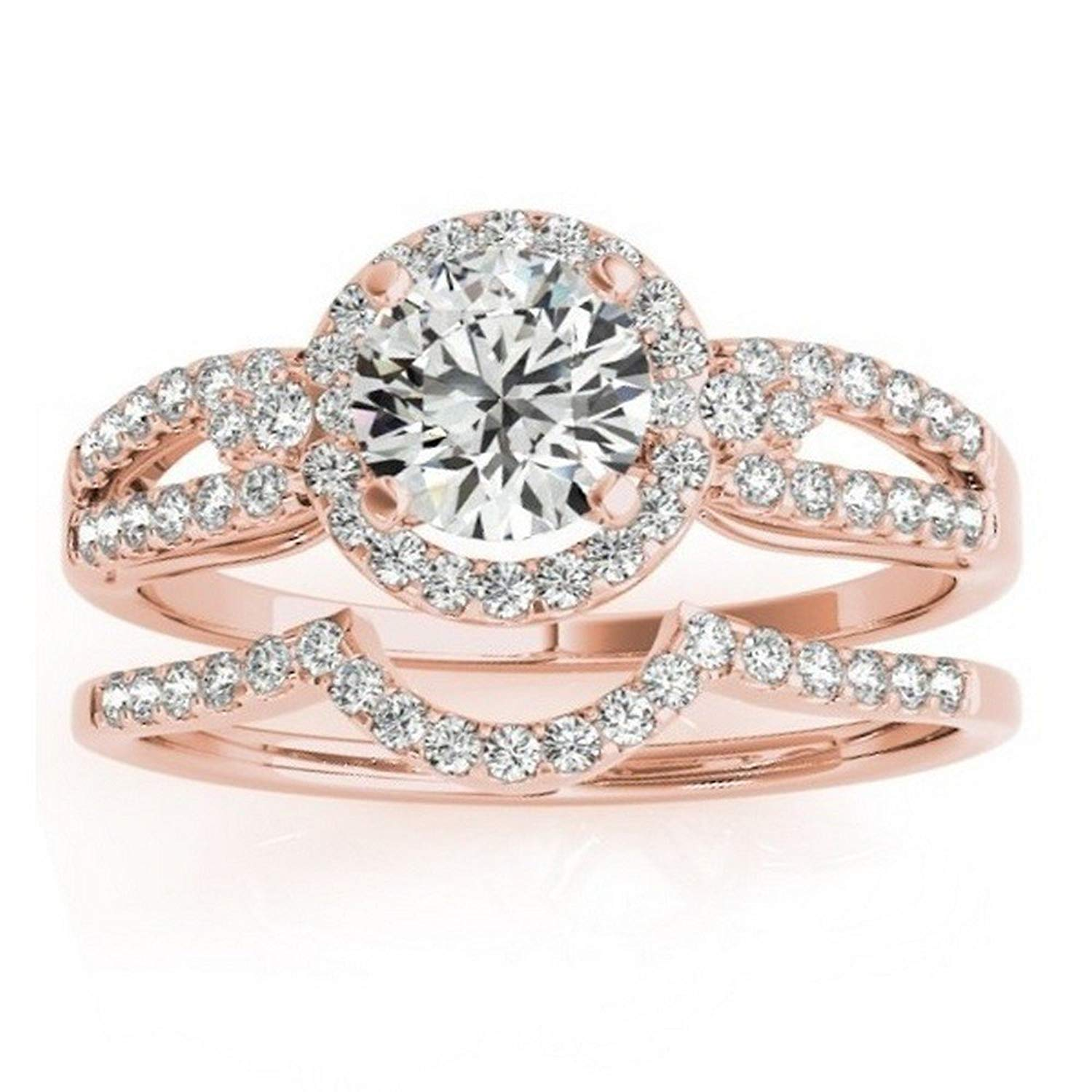 Halo Diamond Engagement Ring Setting and Contour Wedding Band Bridal Set in 14k Rose Gold (0.41ct)