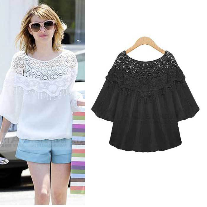 2867cdce0 Get Quotations · Summer Women Blouses 2015 Lace Patchwork Shirts Lady  Clothing Casual Shirts blusa feminina O Neck Lantern