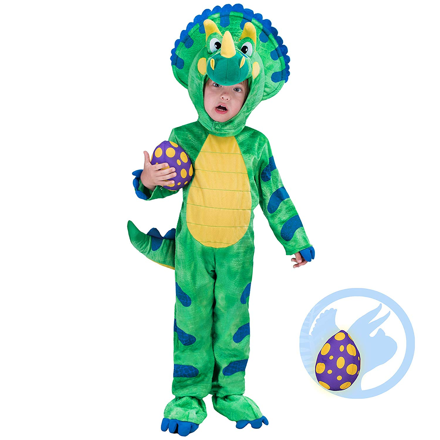 Spooktacular Creations Triceratops Deluxe Kids Dinosaur Costume for Halloween Dinosaur Dress Up Party, Role Play and Cosplay
