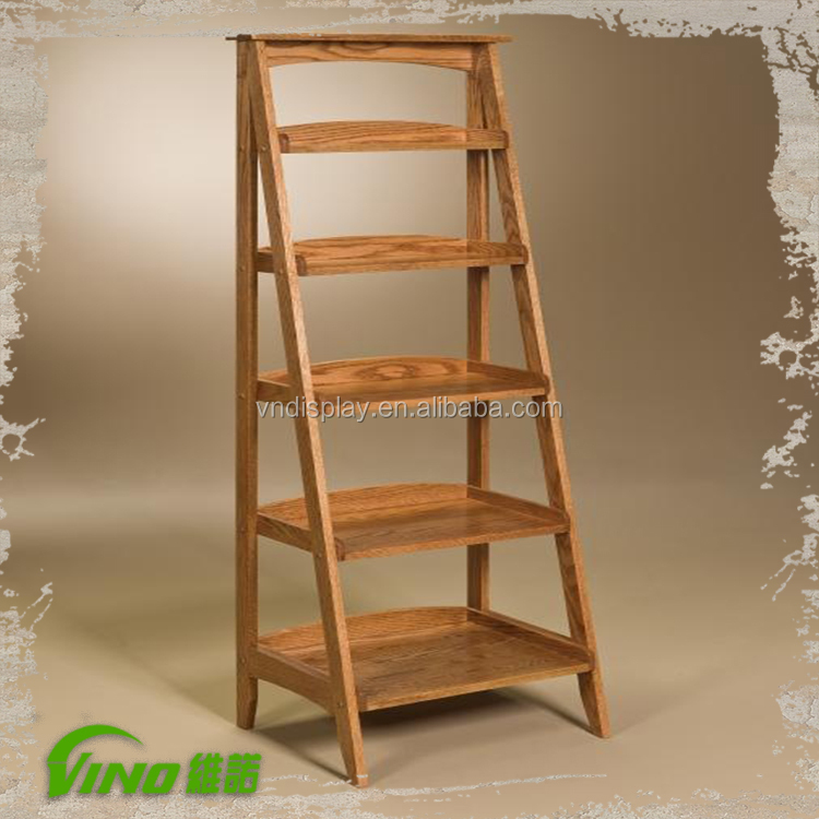 5 Layer Folding Wooden Ladder Wood Ladder Shelf